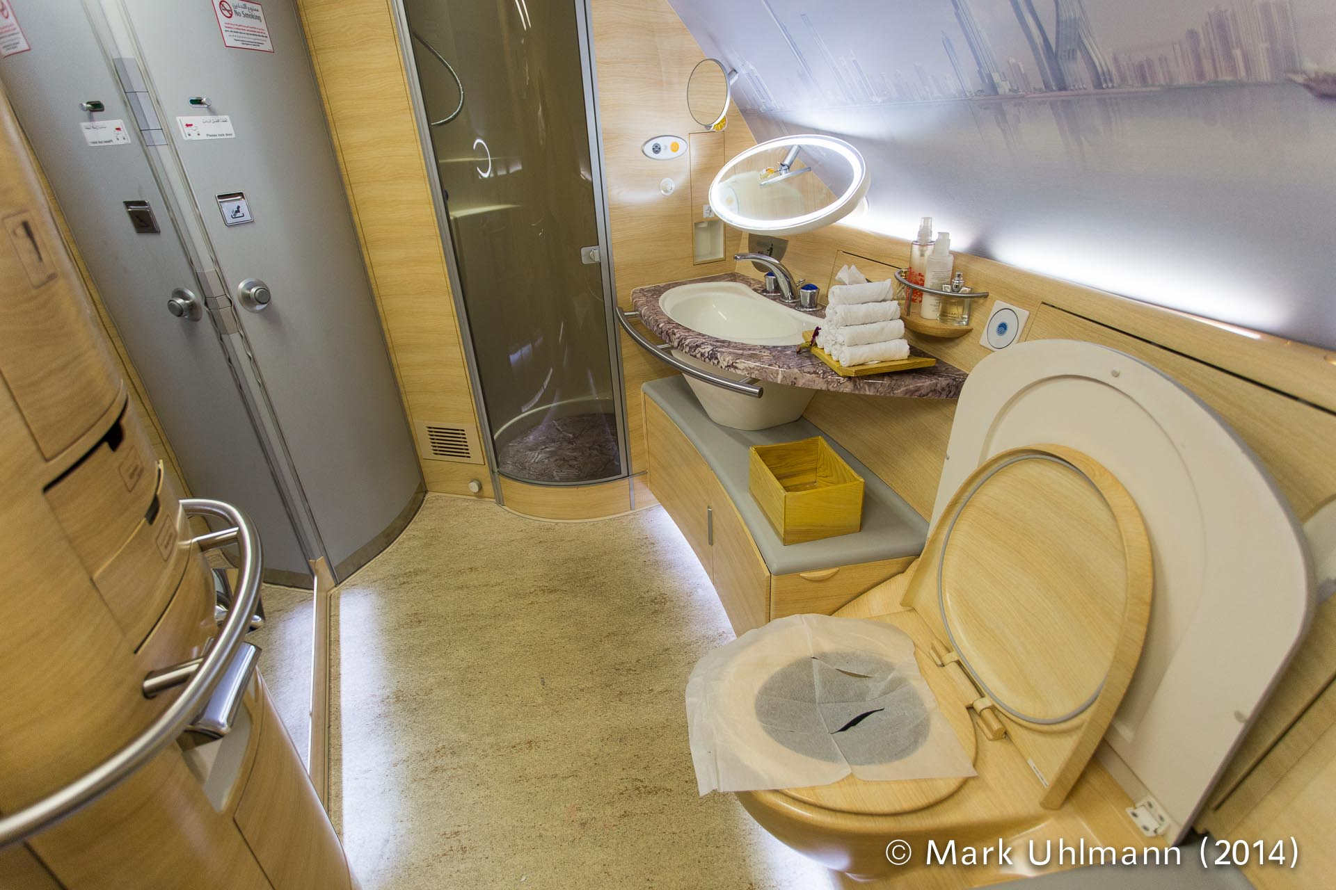 Emirates a380 first mark uhlmann for First bathrooms