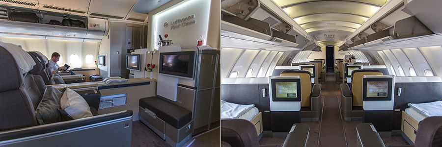 Left: A330-300 First Class cabin; Right: 747-400 Upstairs First Class cabin