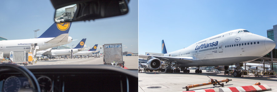 Left: Driving through the Frankfurt airport; Right: The 747-400 I will be taking back to Vancouver, from the tarmac